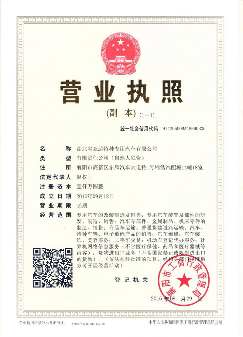 宝亚达专汽企业营业执照